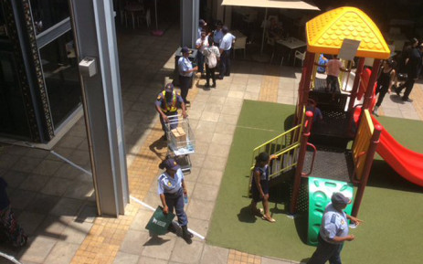 Saps members raising festive season safety awareness at Brooklyn Mall. Picture: @SAPoliceService.