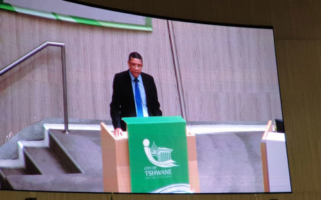 New City of Tshwane mayor, Randall Williams, makes a speech in a council meeting on 30 October 2020 after being elected mayor. Picture: @DAGauteng/Twitter