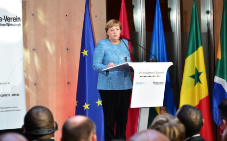 German Chancellor Angela Merkel addresses delegates at the G20 Summit. Picture: @PresidencyZA/Twitter