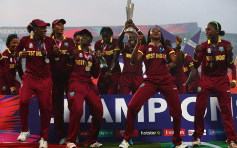 West Indies women celebrate after winning the World T20 title. Picture: @ICC.