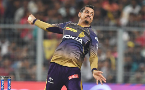 FILE: Kolkata Knight Riders spinner Sunil Narine bowls during the 2019 Indian Premier League (IPL) Twenty 20 cricket match between Kolkata Knight Riders and Rajasthan Royals at the Eden Gardens Cricket Stadium, in Kolkata, on 25 April 2019. Picture: AFP