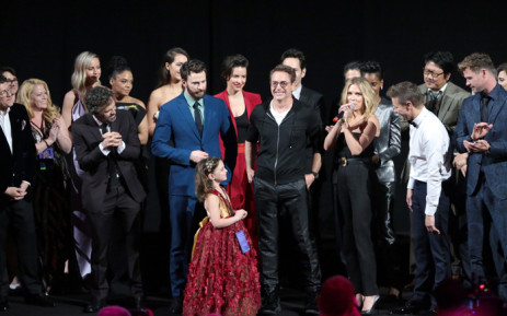 Mark Ruffalo, Chris Evans, Alexandra Rabe, Robert Downey Jr, Scarlett Johansson, Jeremy Renner, and Chris Hemsworth speak onstage during the world premiere of Marvel Studios' 'Avengers: Endgame' on 23 April 2019 in Los Angeles, California. Picture: AFP