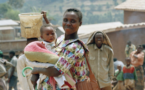 A mother and child in a camp in the French-protected area in Gikongoro, Rwanda. Picture: UN Photo.