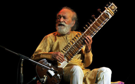 "Renown Indian Sitar maestro, Pandit Ravi Shankar plays during the ""Premaanjali Festival 2012"" a musical concert held at the Palace Grounds in Bangalore on 7 February, 2012. Picture: AFP"