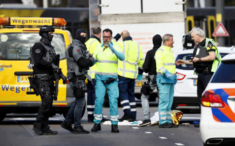 Police forces and emergency services stand at the 24 Oktoberplace in Utrecht, on March 18, 2019 where a shooting took place. Several people were wounded in a shooting on a tram in the Dutch city of Utrecht on March 18, police said, with local media reporting counter-terrorism police at the scene. Picture: AFP