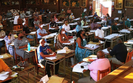 Teachers at the Grey College in Bloemfontein on 8 January 2021. The school is one of the matric exam marking centres in the Free State. Picture: @HubertMweli/Twitter.