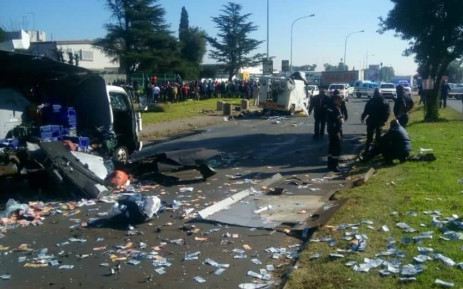 FILE: The scene of a cash-in-transit heist in Boksburg. Picture: Supplied.