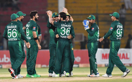 Pakistan players celebrate the fall of a wicket. Picture: @TheRealPCB/Twitter