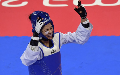FILE: Chile's Fernanda Aguirre celebrates after defeating Panama's Carolena Cartens in the Taekwondo Women's Under 57kg Bronze Medal bout during the Pan-American Games Lima 2019, in Lima, on 28 July 2019. Picture: Luis ACOSTA/AFP