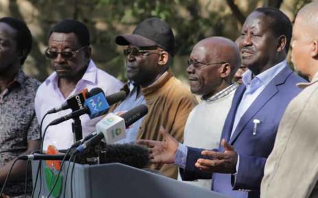 Kenyan opposition leader Raila Odinga addressing supporters. Picture: @RailaOdinga/Twitter