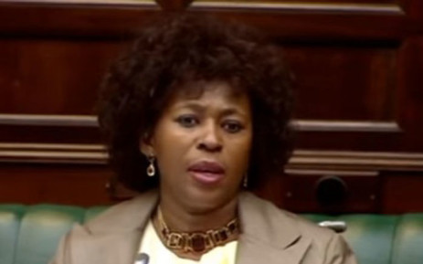 FILE: A screengrab of MP Makhosi Khoza in Parliament during the SABC inquiry.
