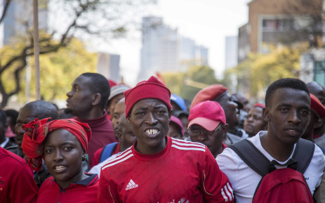 Members of the EFF march from Church Square to the Union Buildings in support of the secret ballot vote to impeach President Jacob Zuma. Picture: Thomas Holder/EWN.