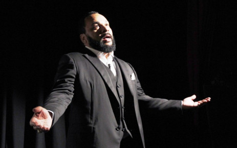 A file photo taken on 15 January 2012 shows French comedian Dieudonne M'bala M'bala delivering a speech prior to the premiere screening of his movie 'Antisemite'. Picture: AFP.