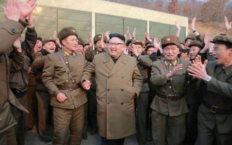 North Korean leader Kim Jong-Un (C) on an inspection tour of the Sohae Satellite Launching Ground in North Korea. Picture: AFP.