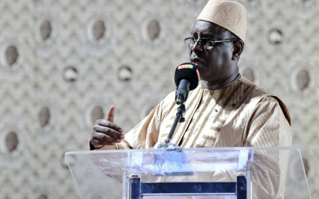 Senegalese President Macky Sall delivers a speech during his coalition's election campaign meeting at Lamine Gueye stadium in Kaolack, Senegal on 12 February 2019. Picture: AFP