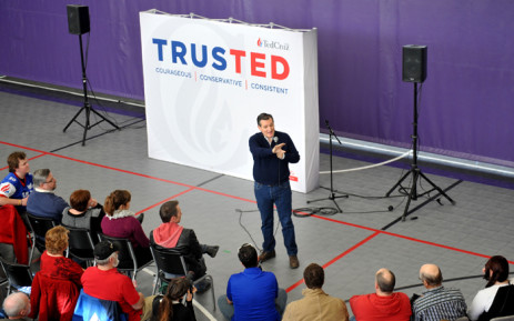 Republican Presidential Candidate Ted Cruz conducts a Caucus Day Rally Monday 1 February, 2016 in Jefferson, Iowa. Picture: AFP.
