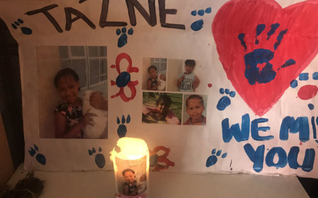A poster of missing Tazne van Wyk at her home in Elsies River, Cape Town. Picture: Lizell Persens/EWN