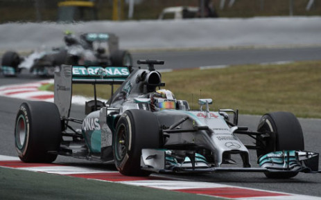 Mercedes-AMG's British driver Lewis Hamilton and Mercedes-AMG's German driver Nico Rosberg drive at the Circuit de Catalunya on May 11, 2014 in Montmelo on the outskirts of Barcelona during the Spanish Formula One Grand Prix. Picture: AFP.