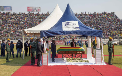 The coffin bearing the late Robert Mugabe's body arrives at Rufaro Stadium for public viewing. Picture: Thomas Holder/EWN.