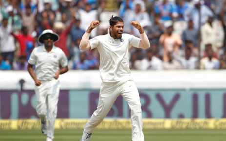 India's Umesh Yadav celebrates after taking a wicket during their second and final test against West Indies. Picture: @BCCI/Twitter.