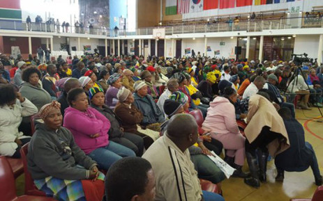 Radebe addressed the community at a service delivery imbizo at Khayelitsha's Oliver Tambo Hall today. Picture: Monique Mortlock/EWN