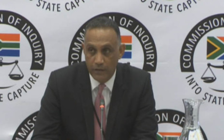 A screengrab of Eskom treasurer Andre Pillay testifying at the commission of inquiry into state capture in Parktown, Johannesburg.