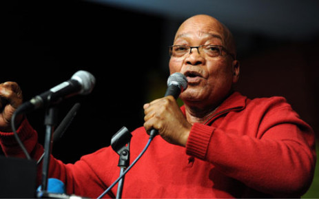 """President Zuma sings the president's song """"Umshini Wami"""". Picture: GCIS."""