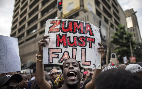 FILE: People called for the removal of President Jacob Zuma with the hashtag #ZumaMustFall. Picture: @Our_DA.