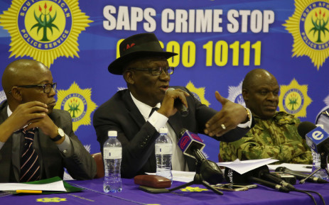 Police Minister Bheki Cele held a briefing giving the residence of Mitchells Plain an update on the anti-gang unit's successes. Picture: Bertram Malgas/EWN