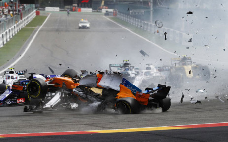 The incident involving Nico Hulkenberg, Alonso's McLaren and Charles Leclerc at the Belgium F1 Grand Prix on 26 August 2018. Picture: @F1/Twitter