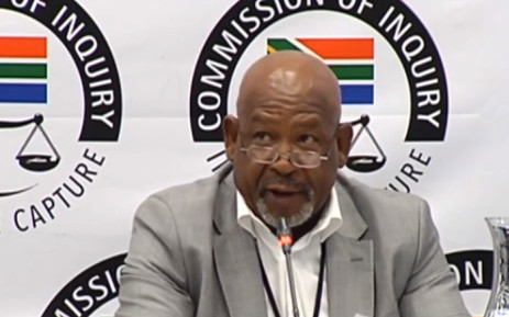 A screengrab of Eskom board chairperson Jabu Mabuza giving testimony at the Zondo Commission on 25 February 2019.