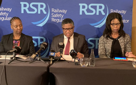 Transport Minister Fikile Mbalula at a press briefing on the state of rail safety in South Africa in Stellenbosch on 1 October 2019. Picture:@SAgovnews/Twitter