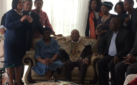 President Cyril Ramaphosa and the ANC leadership at the house of stalwart John Nkadimeng (seated right) in Johannesburg on 15 April 2019. Picture: Kgomotso Modise/EWN
