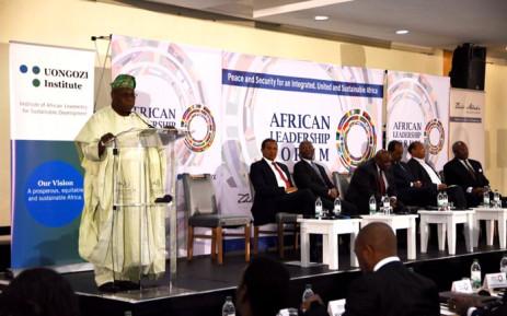 Former Nigerian President Olusegun Obasanjo speaking at the 2017 African Leadership Forum in Boksburg. Picture: Twitter/@Uongozi.
