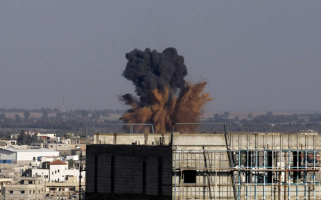 Smoke billows following an Israeli air strike in Rafah in the southern of Gaza Strip, on August 19, 2014. Picture: AFP.