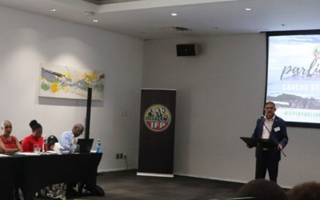 IFP Chief Whip Narend Singh (right) welcomes all IFP Members of Parliament to a strategy workshop on 15 January 2020. Picture: @IFPinParliament/Twitter