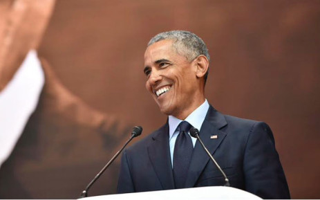 Former US President Barack Obama speaks during the 2018 Nelson Mandela Annual Lecture at the Wanderers cricket stadium in Johannesburg on 17 July 2018. Picture: @NelsonMandela/Twitter