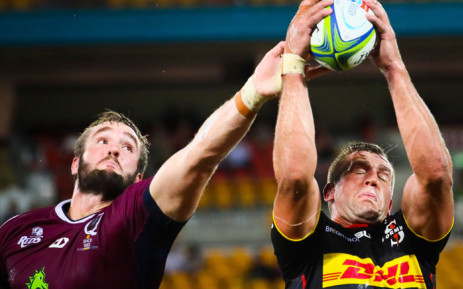 The Reds' Izack Rodda (L) and the Stormers' Chris Van Zyl (R) fight for the ball during their Super Rugby match at Suncorp Stadium in Brisbane on 5 April 2019. Picture: AFP