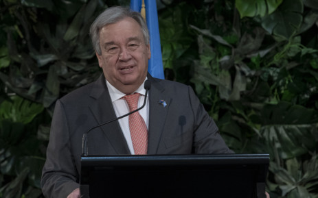 Secretary-General António Guterres addresses the media alongside Jacinda Ardern (not pictured), Prime Minister of New Zealand, upon his arrival to the country. Picture: United Nations Photo.