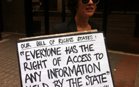 FILE: A Right2Know protester outside Luthuli House. Picture: EWN