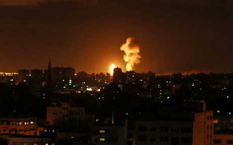 A picture taken on 27 October 2018 shows a fireball exploding during Israeli air strikes in Gaza City. Picture: AFP