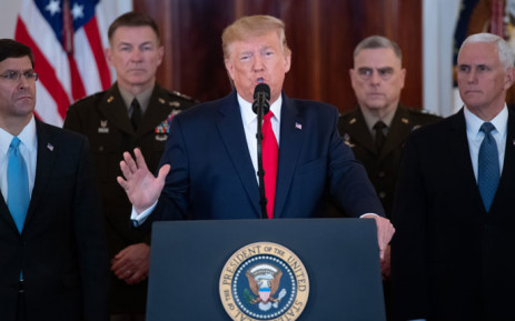 US President Donald Trump speaks about the situation with Iran in the Grand Foyer of the White House in Washington, DC, 8 January 2020. Picture: AFP