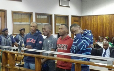 Four men accused of stabbing Emmanuel Sithole to death made a brief court appearance at the Alexandra Magistrate Court on 21 April 2015. Picture: Kgothatso Mogale/EWN.
