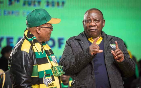 President Jacob Zuma and Deputy President Cyril Ramaphosa in discussion at the ANC national policy conference at Nasrec on 30 June 2017. Picture: Thomas Holder/EWN.