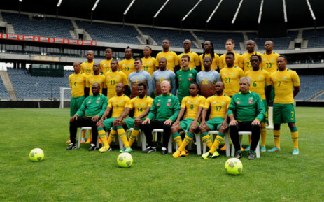 Bafana Bafana pose for a group photograph prior to a training session at the Orlando Stadium in Soweto on Friday, 11 January 2013. Picture: Werner Beukes/SAPA.