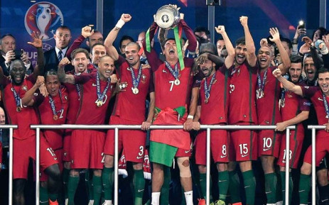 Cristiano Ronaldo leads his Portugal side in celebration after winning the 2016 European Championship title. Picture: UEFA Euro 2016/Twitter
