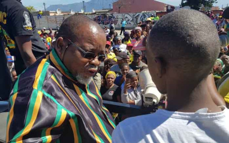 ANC national chairperson Gwede Mantashe addresses supporters during a visit in Gugulethu, Cape Town, aimed at drumming up support for the ruling party ahead of May 2019 elections. Picture: @GwedeMantashe1/Twitter
