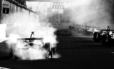 Racing hybrid electric car. Fully powered car e-sport racer