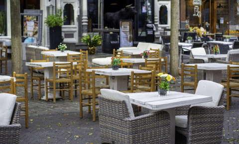 Restaurant with spaced table for Covid-19 social distancing