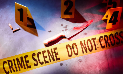 Bloody knife crime scene police tape. Picture: 123rf